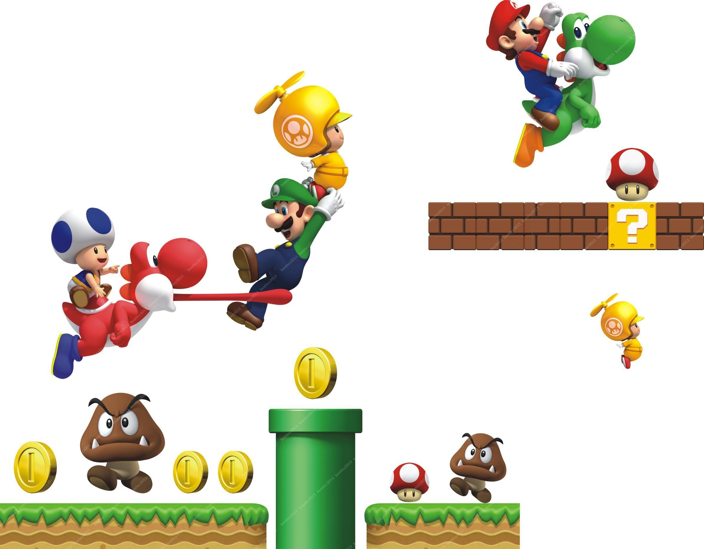super mario bros cartoon removable wall stickers for kids