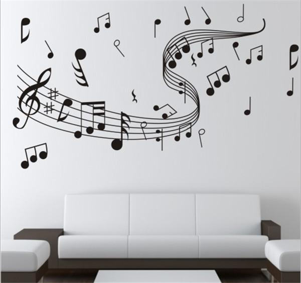 Brand New 1pcs Diy Wallpaper Music Note Wall Stickers For Creative Wall Art Decoration Music Wall Decals Home Bedroom Decor