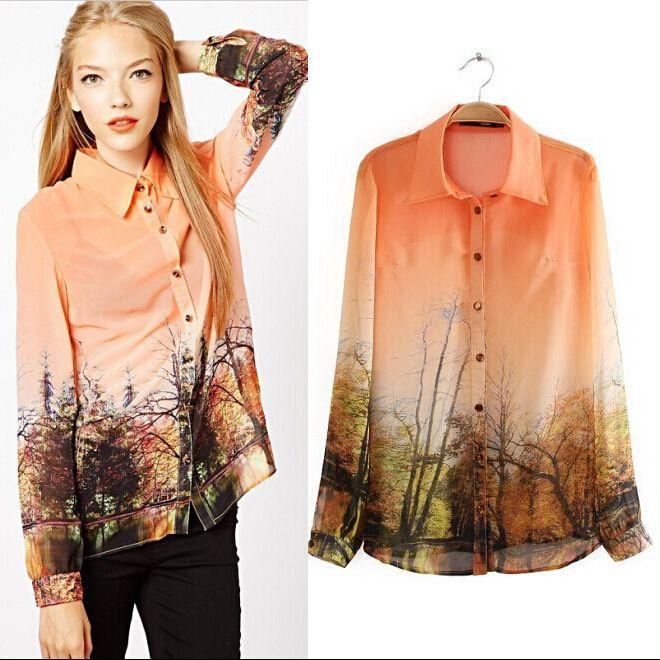 Blusas 2016 Autumn Shirt Women Blouses Fashion Forest ...