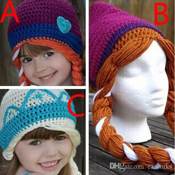 Wholesale Cheap Girl  Crochet Cute Knitting Wool  Crochet Hats  Anna Elsa Crochet