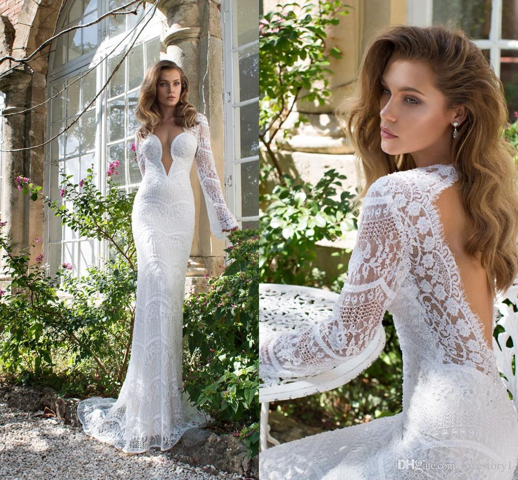 2015 y Mermaid Wedding Dresses Long Sleeve Drop Back