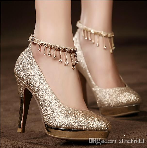 2017sparkling Golden Lace Up Wedding Bridal Shoes Crystals
