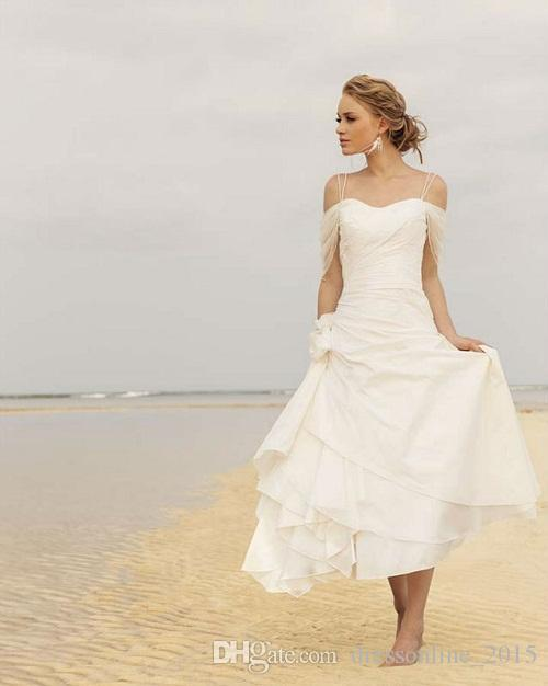 Discount short white beach wedding dresses 2015 spaghetti for Short white wedding dresses under 100