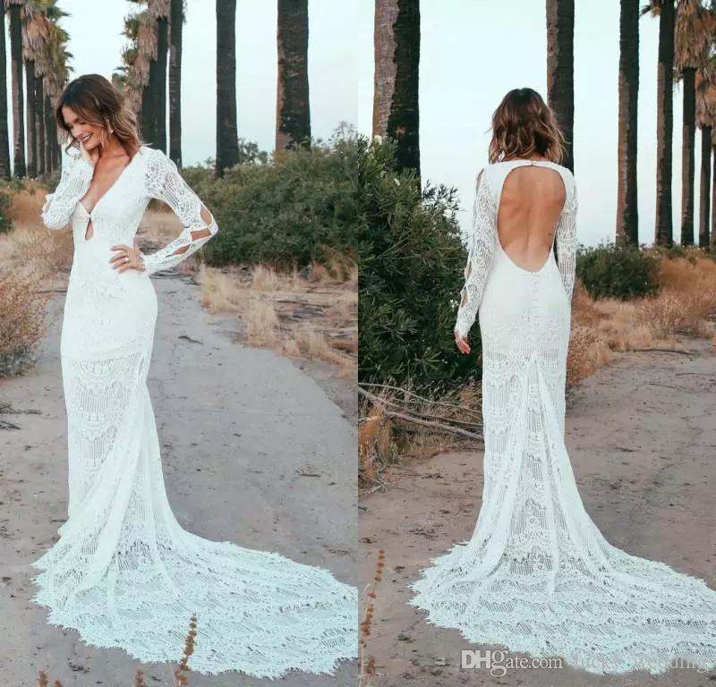 2019 New Romantic Bohemian Wedding Dresses Sexy Deep V Neck Open