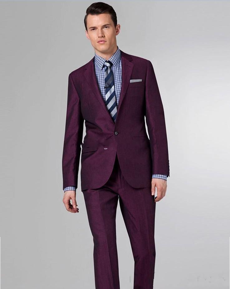 2015 New Burgundy Men Suits One-button Back Split Wedding Suits ...