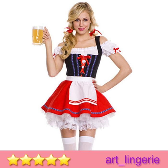 Waitress Halloween Costume product containsdress apron New European Halloween Costumes Bar Girl Waitress Costumes 3pcs A Set Sexy Dress Women Cosplay Costumes