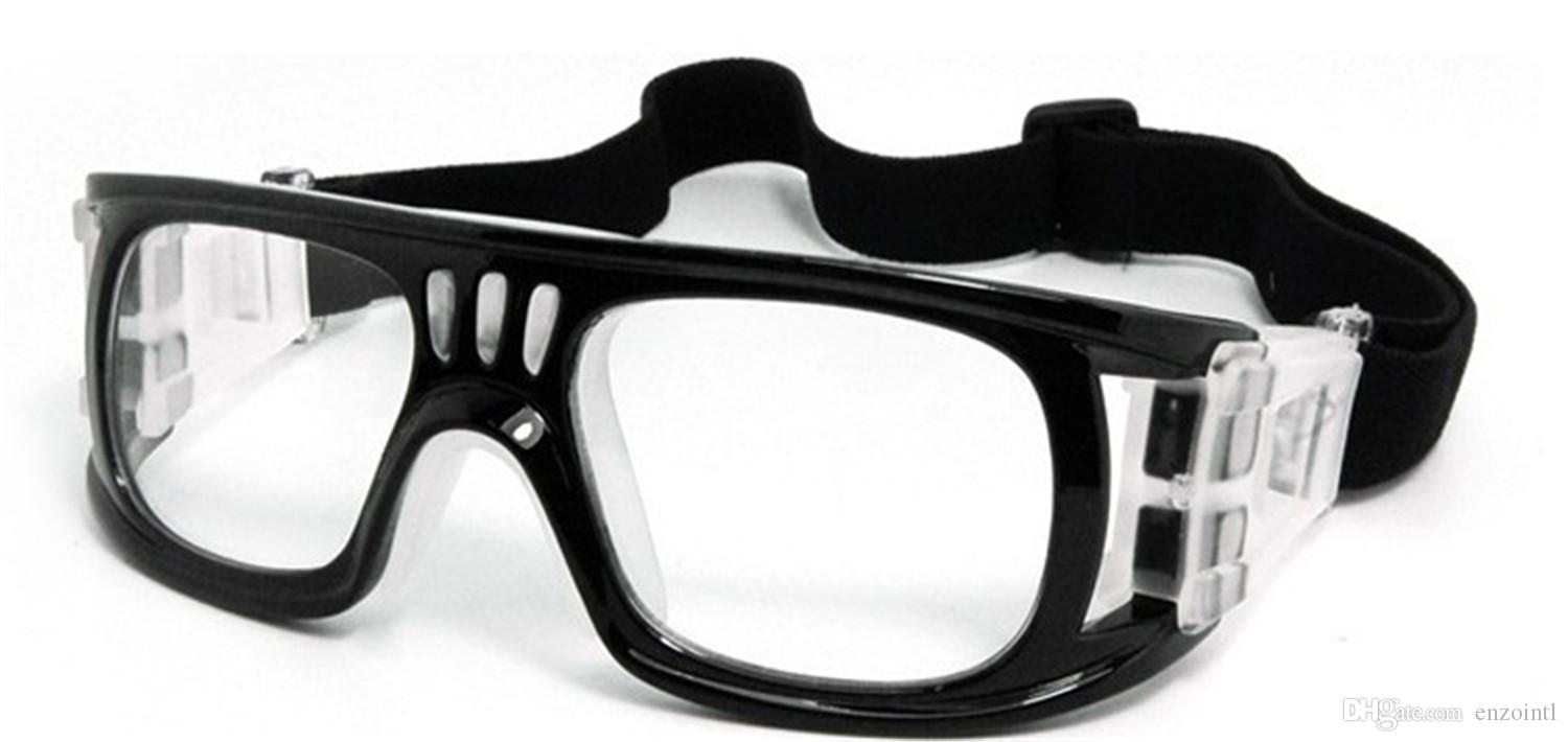 Sports frames for eyeglasses - Mens Basketball Goggles With Clear Lenses Bendable Soccer Glasses Protective Football Goggles Flexible Sports Eyewear With Head Strap