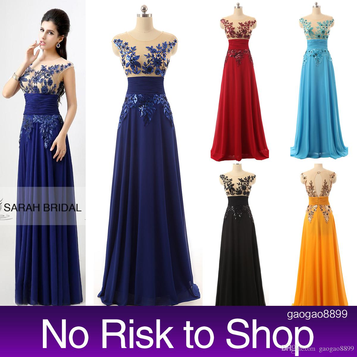 Cheap Sheer Neck Prom Party Dresses Sequins A Line Royal Blue ...