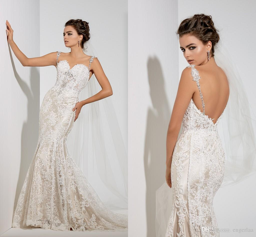 Covered Lace Mermaid Wedding Dresses 2015 y Spaghetti
