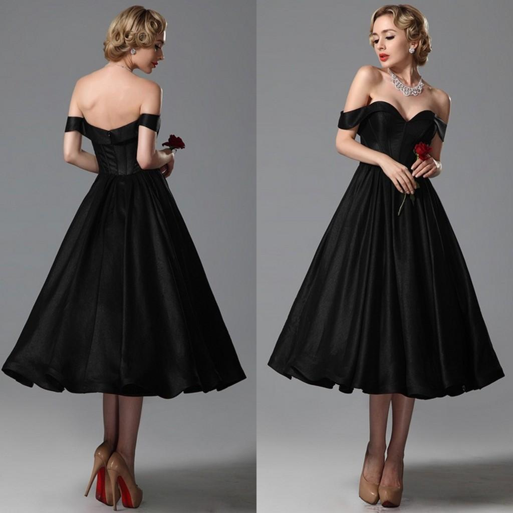 2015 vintage black wedding dresses a line sweetheart off shoulder 2015 vintage black wedding dresses a line sweetheart off shoulder tea length bridal gowns custom made for brides prom gown black wedding dresses black ombrellifo Choice Image