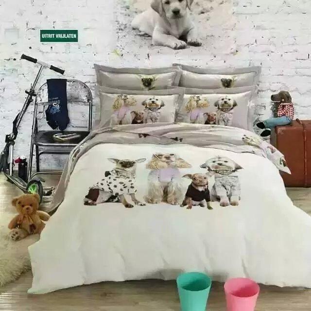 Kawaii Dog Print Bedding Set King Queen Size Cartoon Quilt Duvet ...
