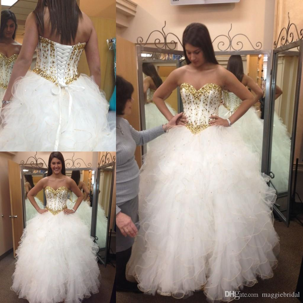 Ball gowns 2016 white and gold wedding dresses sweetheart for Gold beaded wedding dress