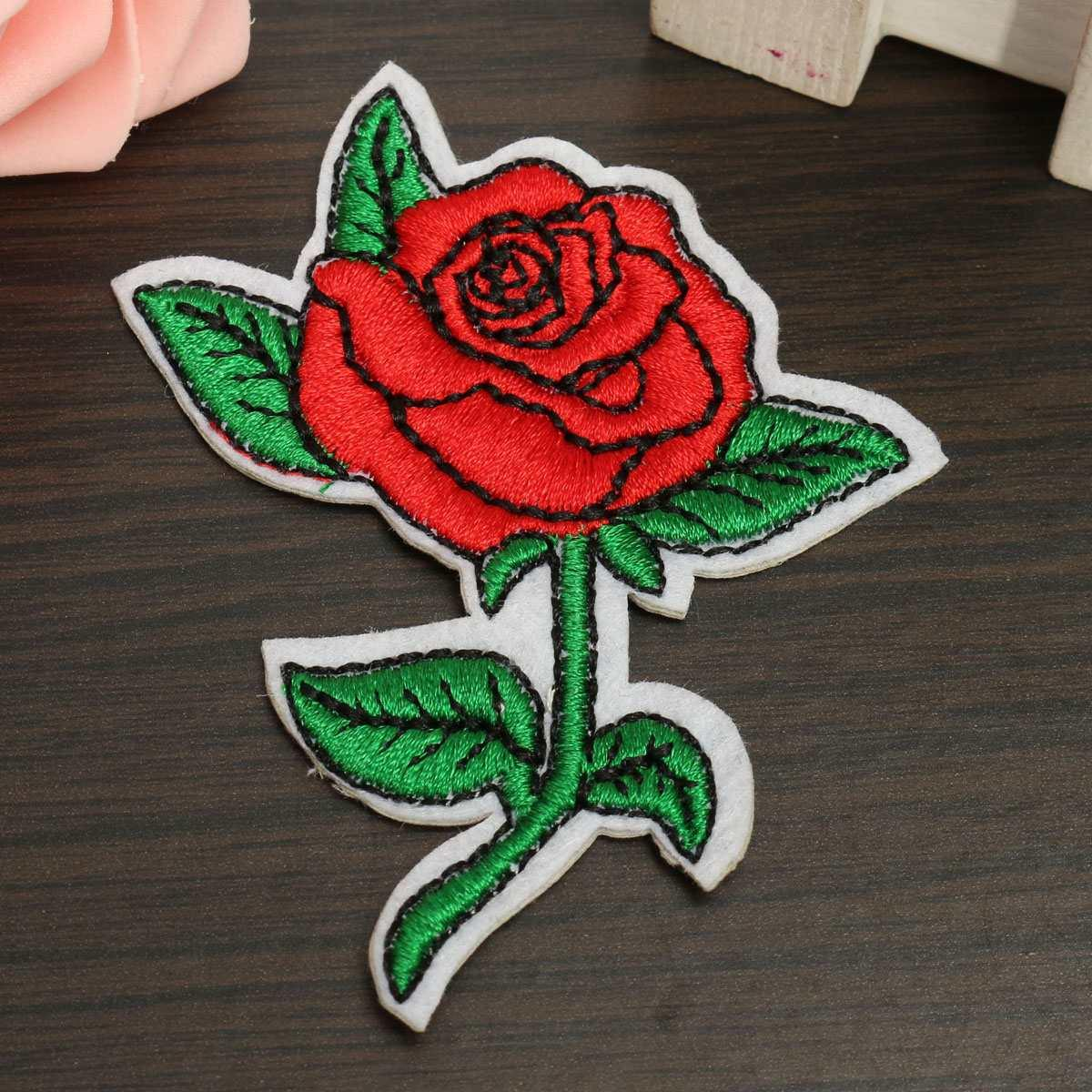 Diy Handmade Embroidered Patch: Online Cheap Red Rose Sew On Embroidered Patch Clothes