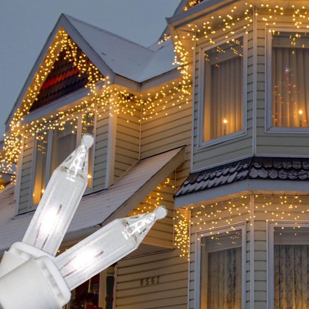 Curtain christmas lights - 40m Led Curtain Light Icicle String Lights 96leds Led Christmas Lights Ac220v Rgb White Garden Outdoor Led Lighting