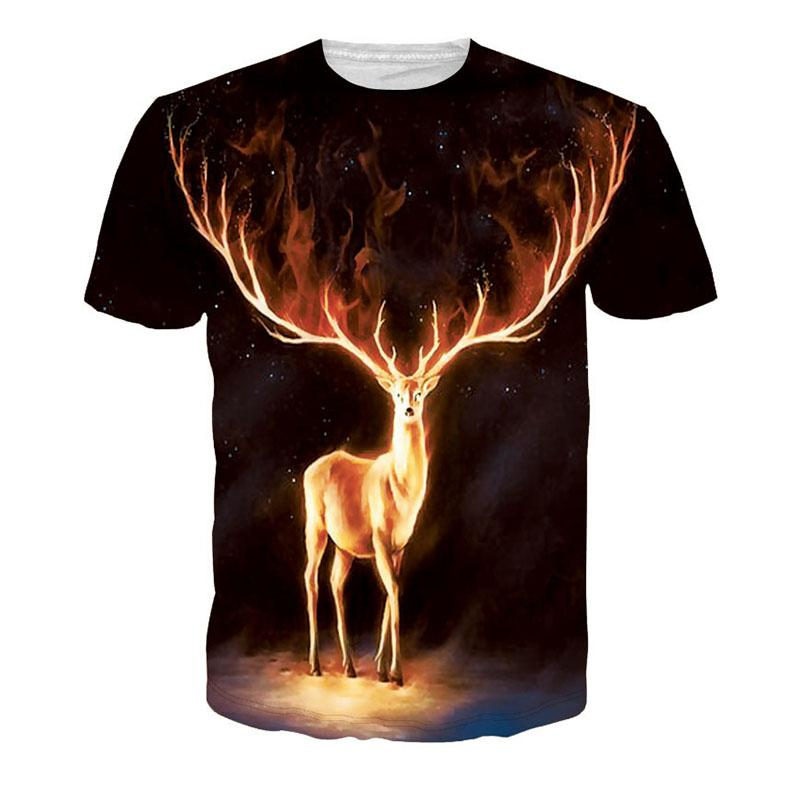 2016 new fashion 3d t shirt funny animal t shirt fire deer print tee shirts fitness t shirt tops. Black Bedroom Furniture Sets. Home Design Ideas