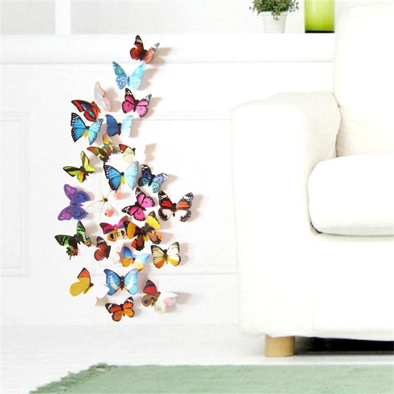 12pcs Lot Colorful Design 3d Butterfly Wall Sticker Decor Butterflies Art Wall Art Home Decor