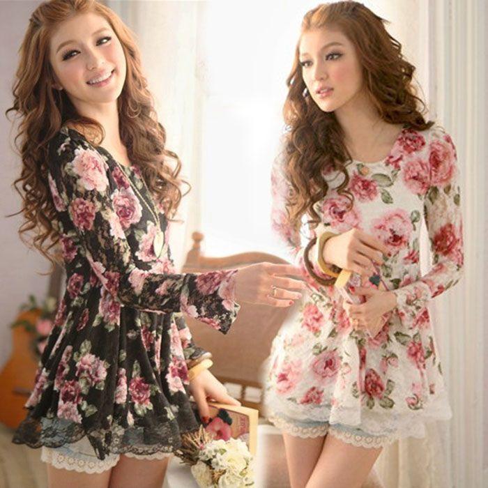047 2016 women new fashion white black floral print long for White floral shirt womens
