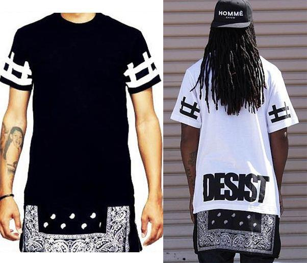 2015 New Fashion Men Women 39 S Hip Hop T Shirt Bandana Style Summer Short Sleeve Extended Tee