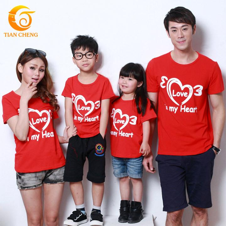 Quality Love Heart Family Matching Outfits Cotton Red T Shirt ...
