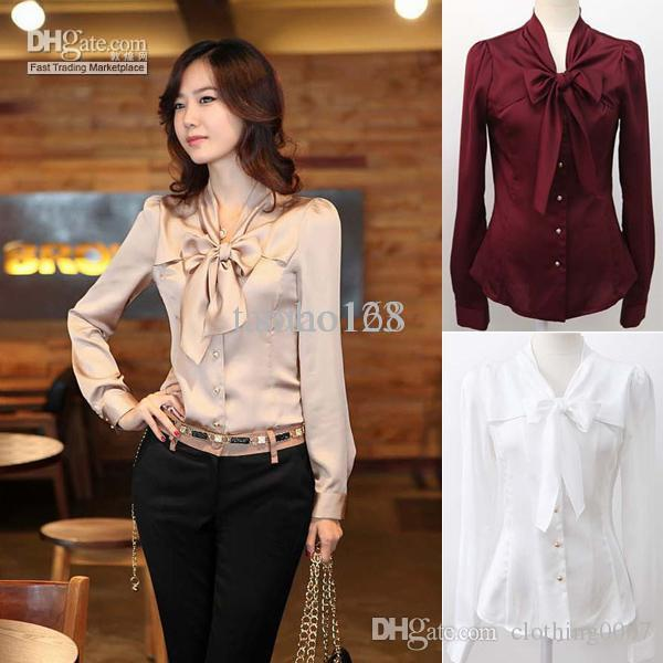 Women Fashion Big Bowknot Imitate Silk Shirts White Beige Wine-Red ...