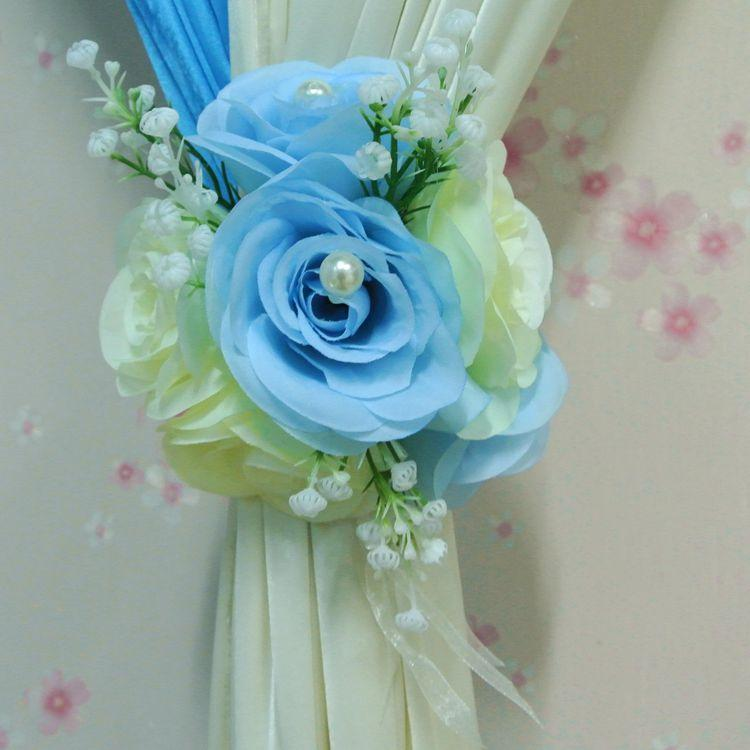 Hot Sale Artificial Flowers Rose Pearls Curtain Backdrop Clips
