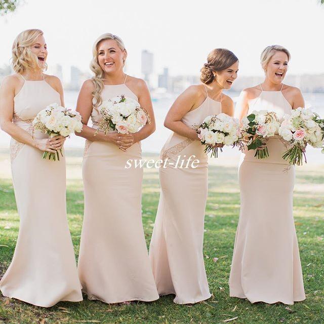 Champagne plus size long bridesmaid dresses spaghetti for Plus size champagne wedding dresses