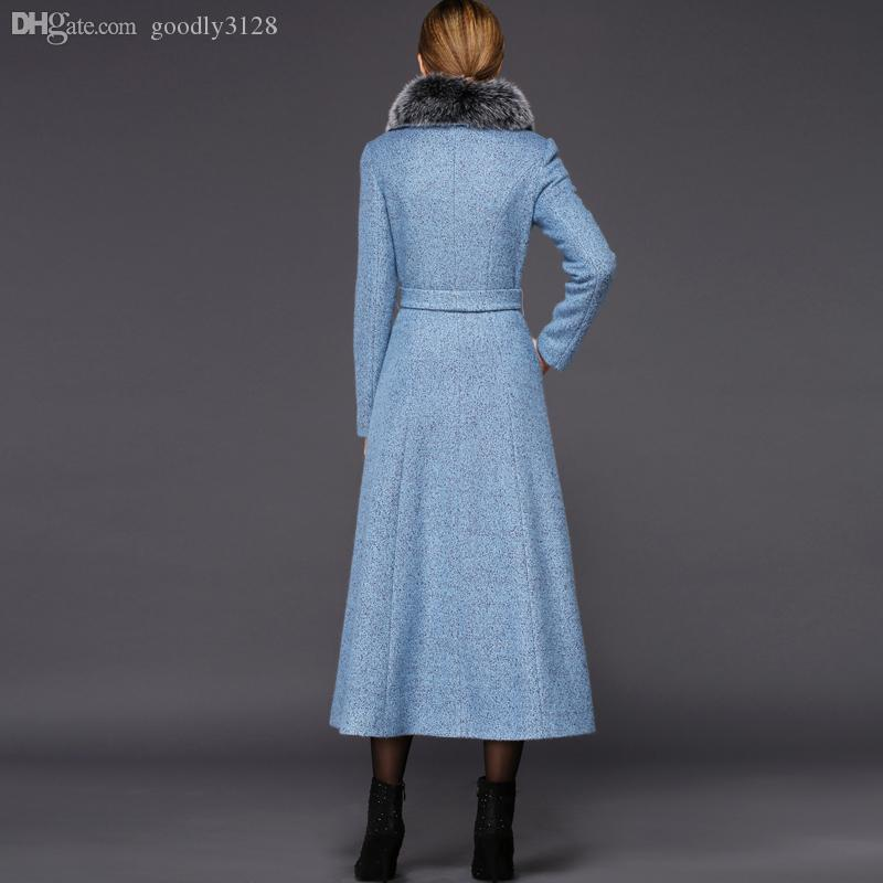 Wholesale-Twods XS - 4XL Winter Women Light Blue Wool Coat Fox Fur ...