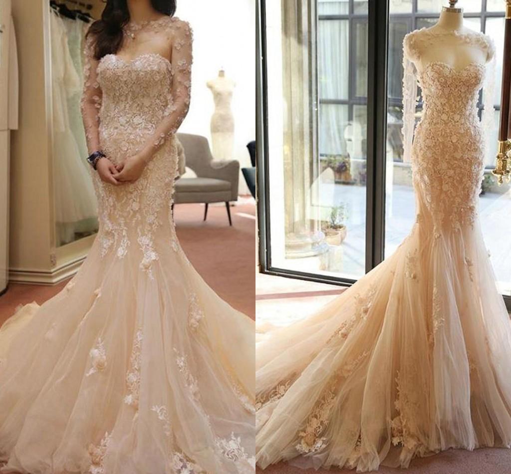 2016 Full Lace Champagne Wedding Dresses Mermaid Long