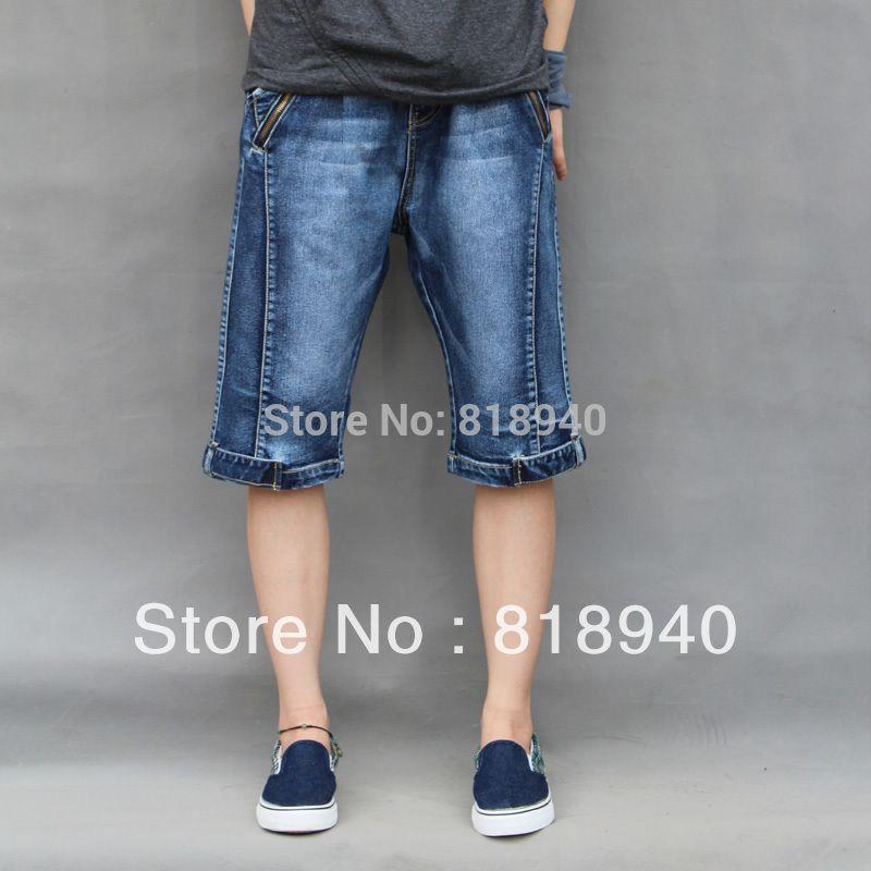 Men Distressed/Rip Denim Shorts Blue Jean Crop Capri Pocket 3/4 ...