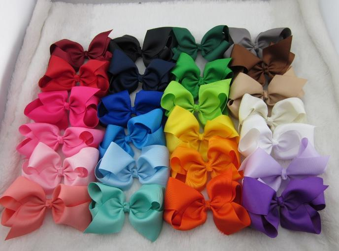 Hot 5inch high quality grosgrain ribbon baby boutique hair bows WITH CLIP for children hair accessories 75pcs/lot free shipping
