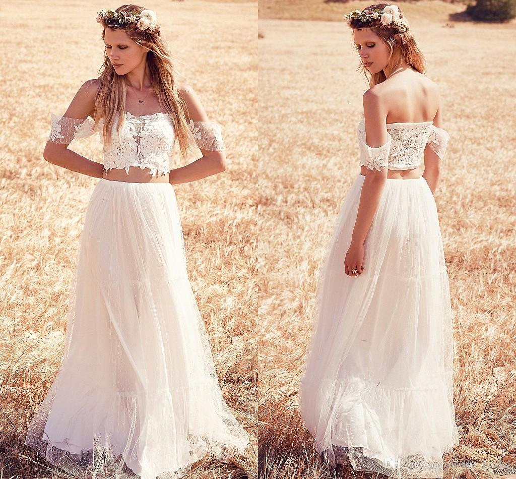 Discount two piece 2016 boho wedding dresses romantic lace for Cheap 2 piece wedding dresses