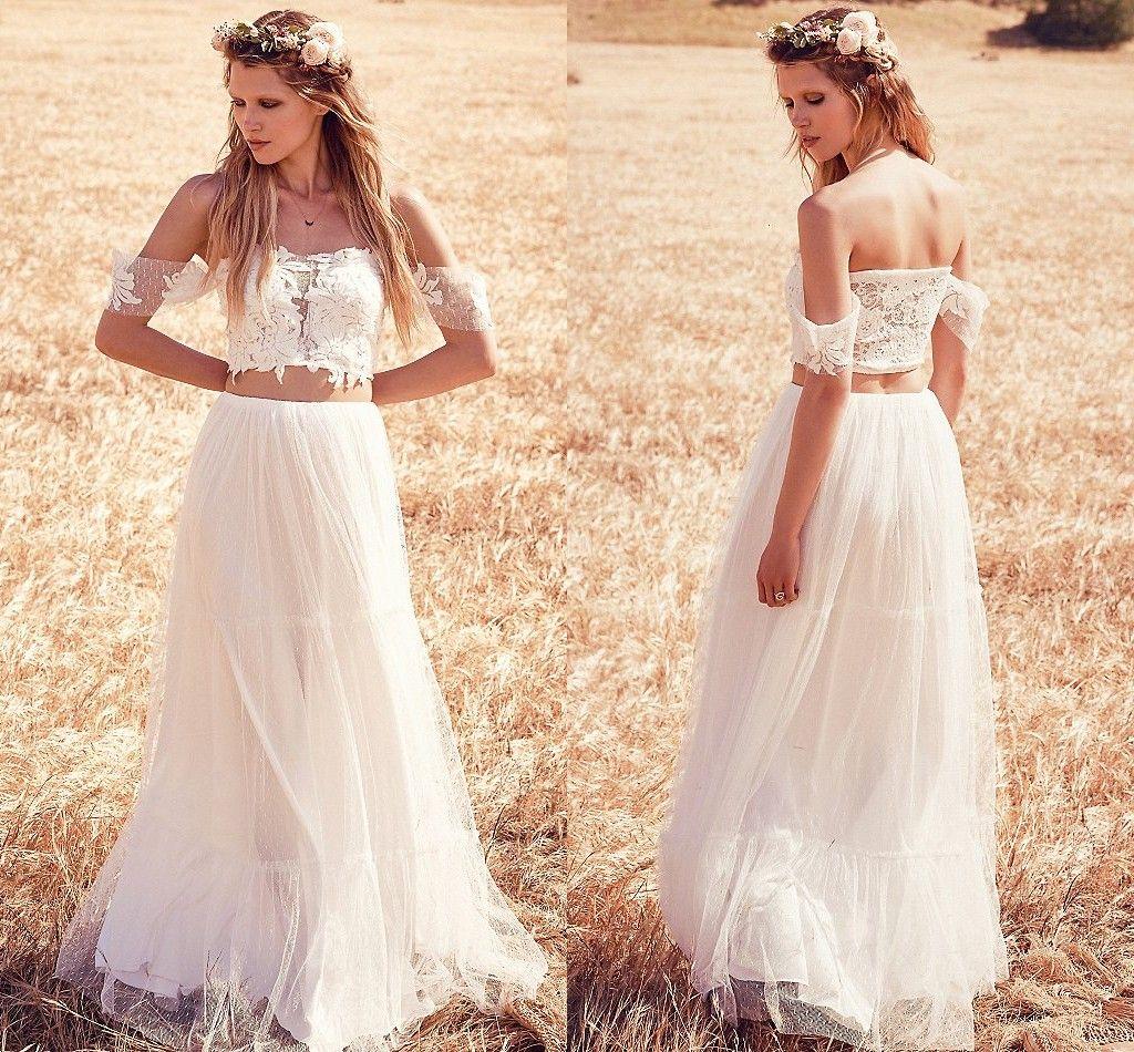 Discount Two Piece 2016 Boho Wedding Dresses Romantic Lace