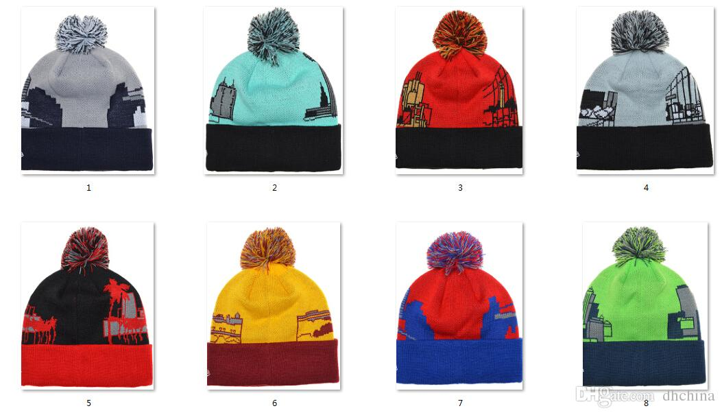 2015 Newest Beanies Pom Knit Hats Sports Cap Mix Match Order All City Caps in stock Top Quality Hat