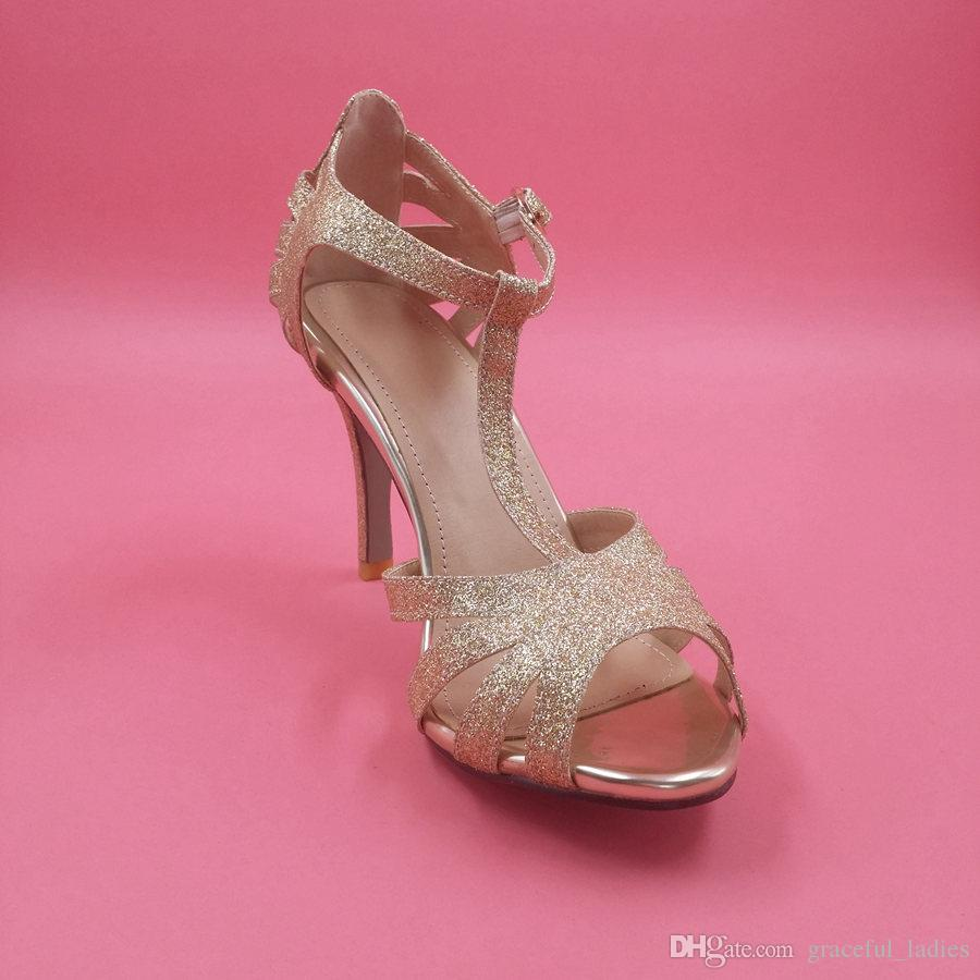 Gold Glittery Wedding Shoe Silver Bridal Shoes T Strap Leather ...