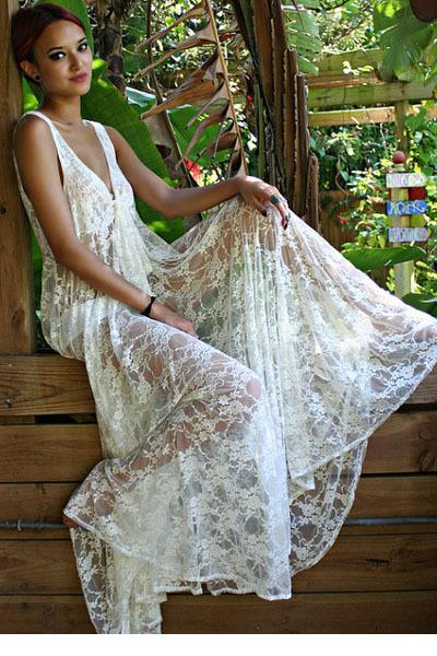 Cheap Sexy Honeymoon White Lace Maxi Dress LC60015 FG1511 - Sexy Honeymoon White Lace Maxi Dress LC60015 FG1511 Dress Woven