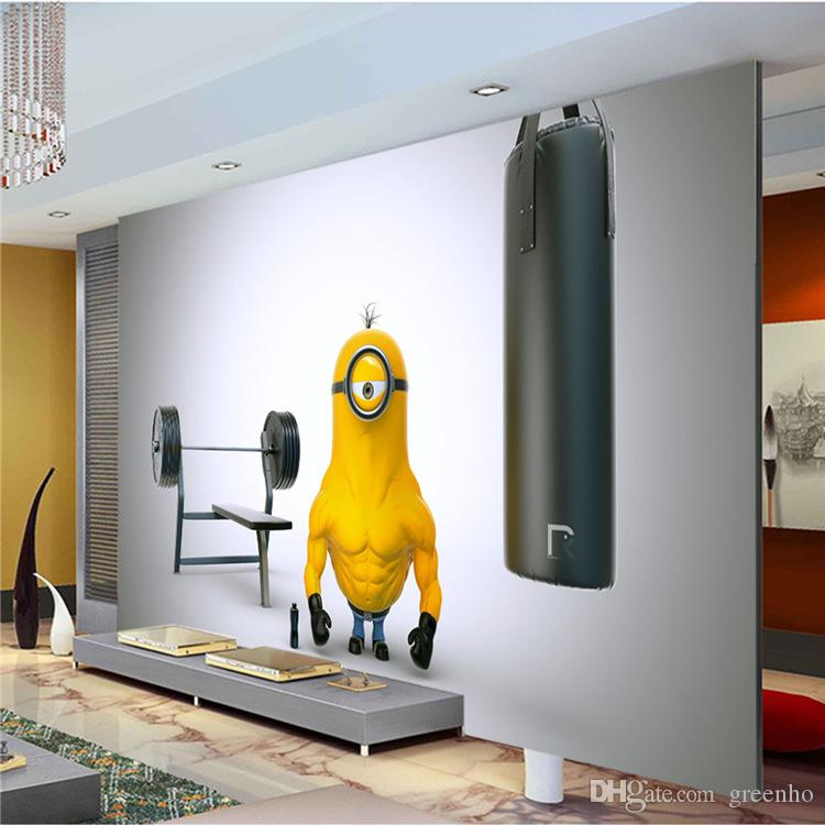 Funny muscle minion photo wallpaper custom wall mural for Fun wallpaper for walls