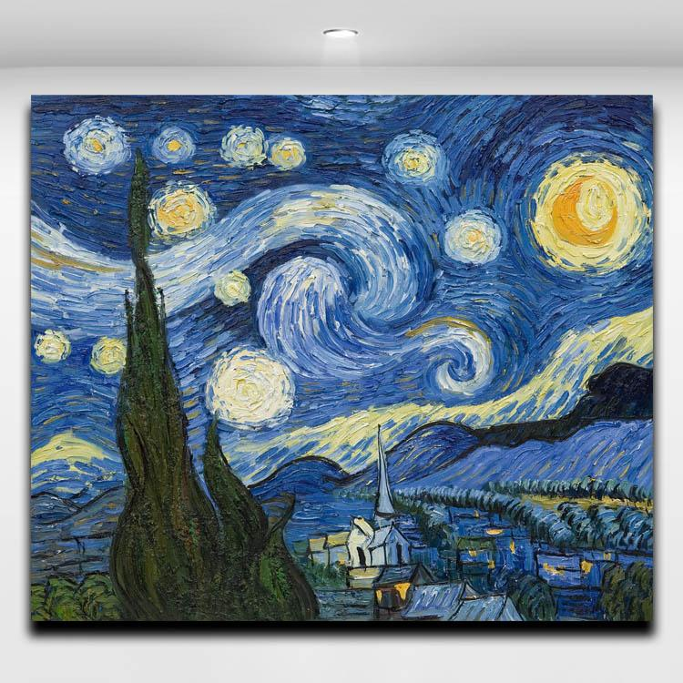 Van Gogh Starry Sky Works Oil Painting Canvas Prints Mural Art Picture for Hotel Office Home Living Wall Decor