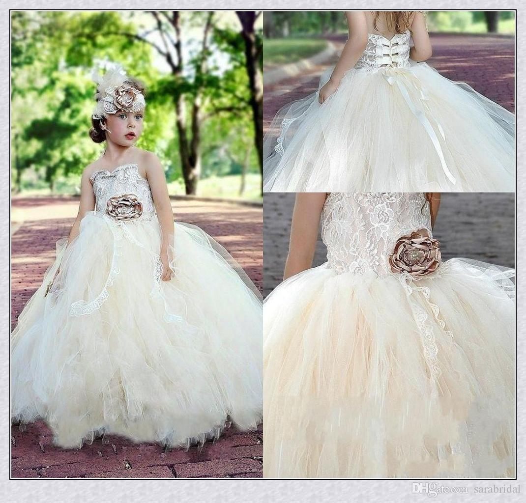 Vintage Flower Girls Dresses Lace Tulle Flower Little Kids Dresses ...