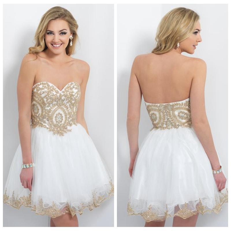 White Homecoming Dresses Gold Beadings Sweetheart Backless ...