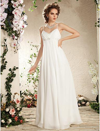 2015 white empire waist chiffon wedding dress spaghetti for Maternity wedding dresses under 100