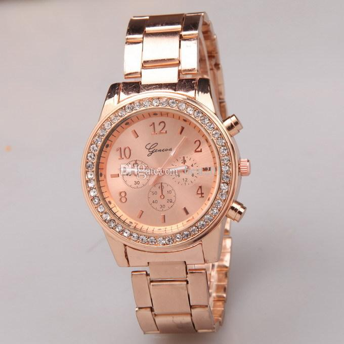 Rose Gold Watch Women Luxury Brand Hot Geneva Ladies Wristwatches Gifts For Girl Full Stainless Steel Rhinestone Quartz Watch