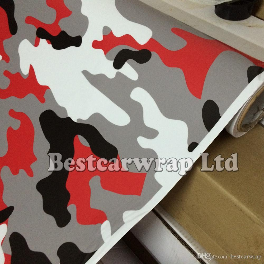 Car sticker design for white car - Red White Camouflage Sticker Wrap With Air Release White Black Arctic Camo Film For Car Wrap