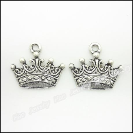 Charms Antique Plated Silver Zinc Alloy Imperial Crown Fit Pendant Bracelet Coll