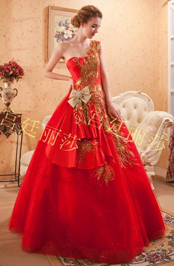 2015 ball gown wedding dress chinese style red strapless for Chinese style wedding dress