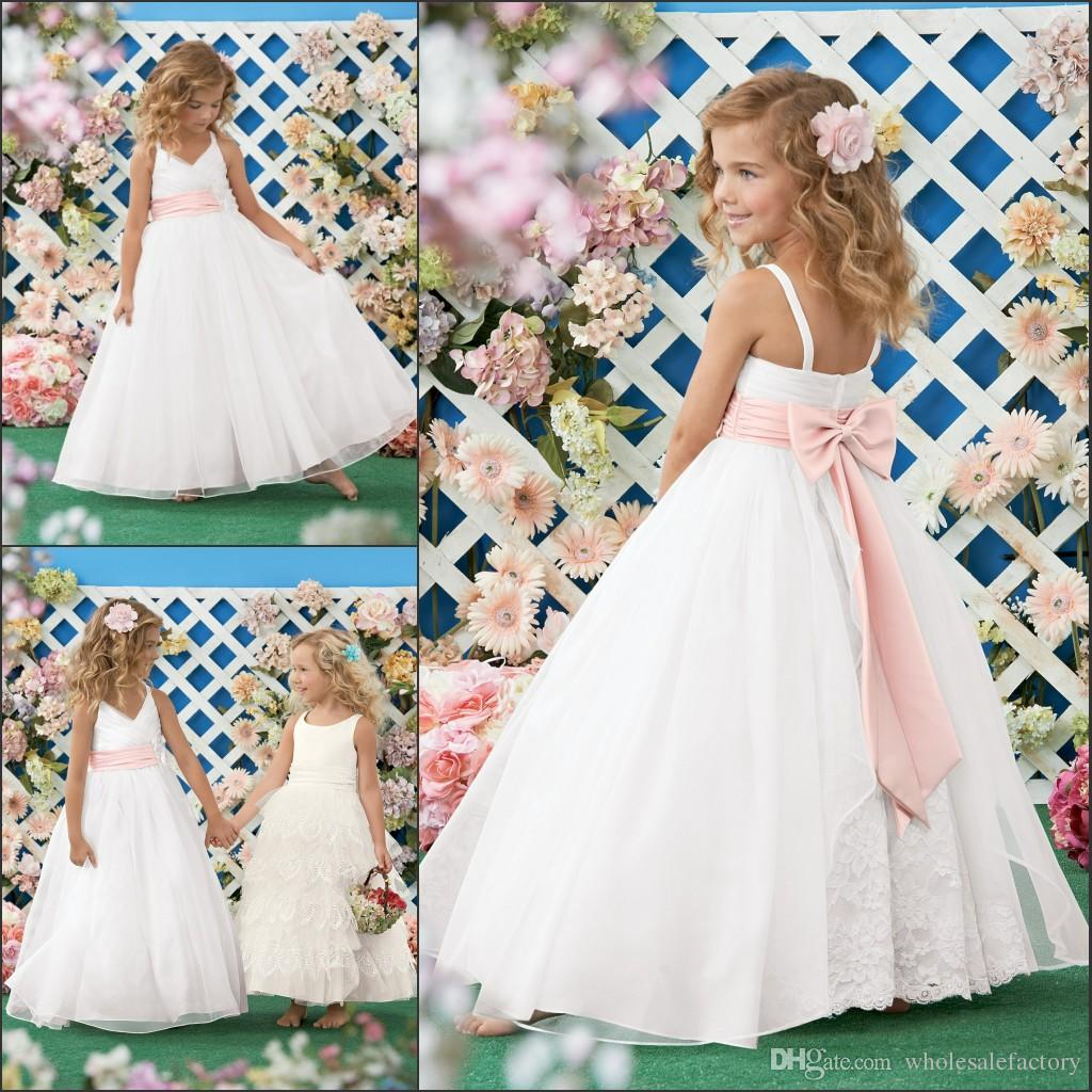 2015 Beach Wedding Flower Girl Dresses Spaghetti Pink Ribbon Bow A