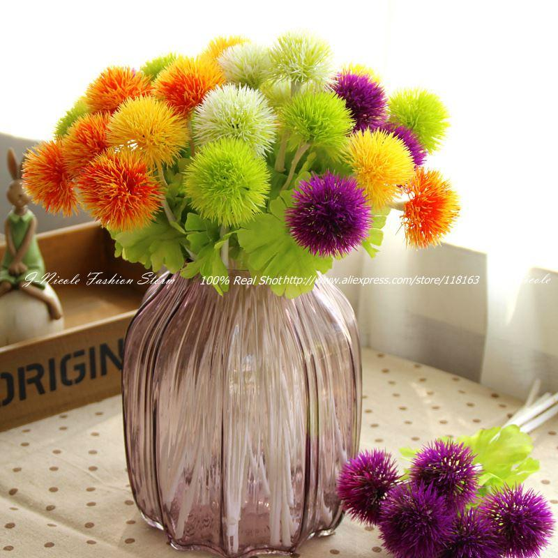 6pcs Lot Fresh Artificial Mini Silk Dandelion Hydrangea Decorative Flowers Home Party Decoration Wedding Flowers No Vase