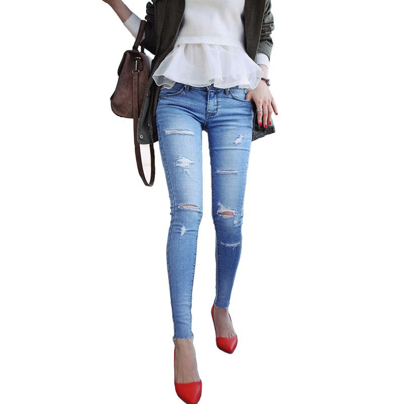 Online Cheap 2016 New Women'S Ripped Jeans Female Skinny Slim Hole ...
