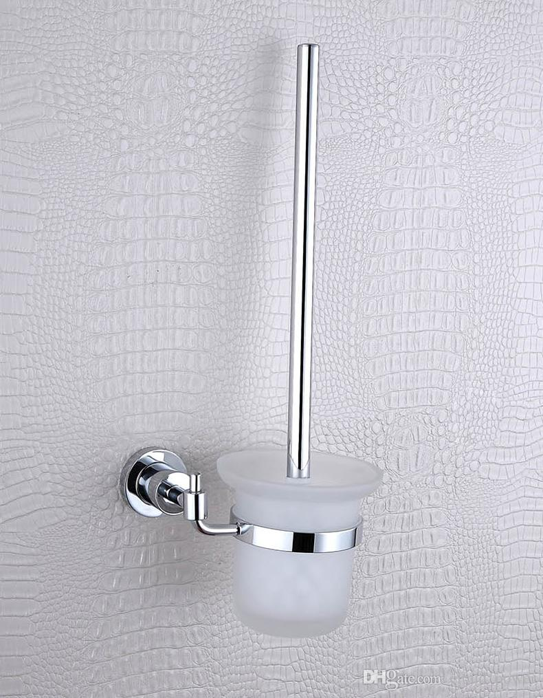 Cloud Power Simple Wall Mounted Toilet Brush Holder,Chrome Plated Brass Bat # Clou Toilet Accessoires_073334