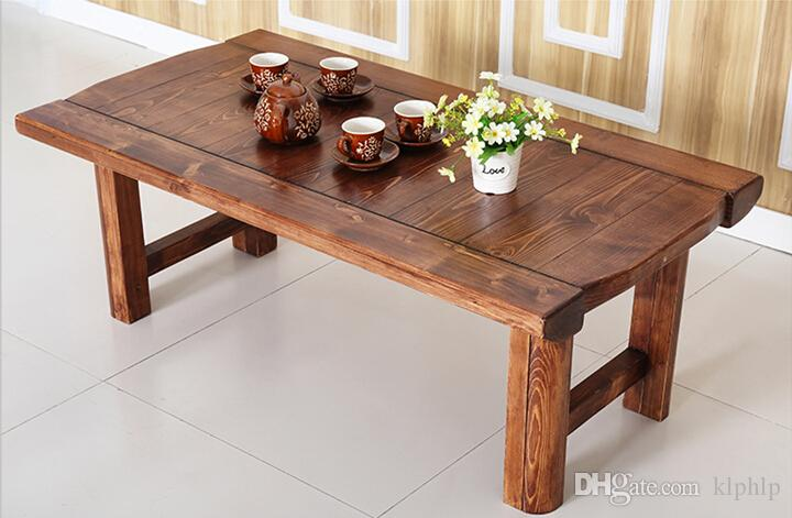 Vintage Wooden Table Folding Legs Rectangle 130cm Living Room Furniture  Asian Antique Style Bench Low Coffee