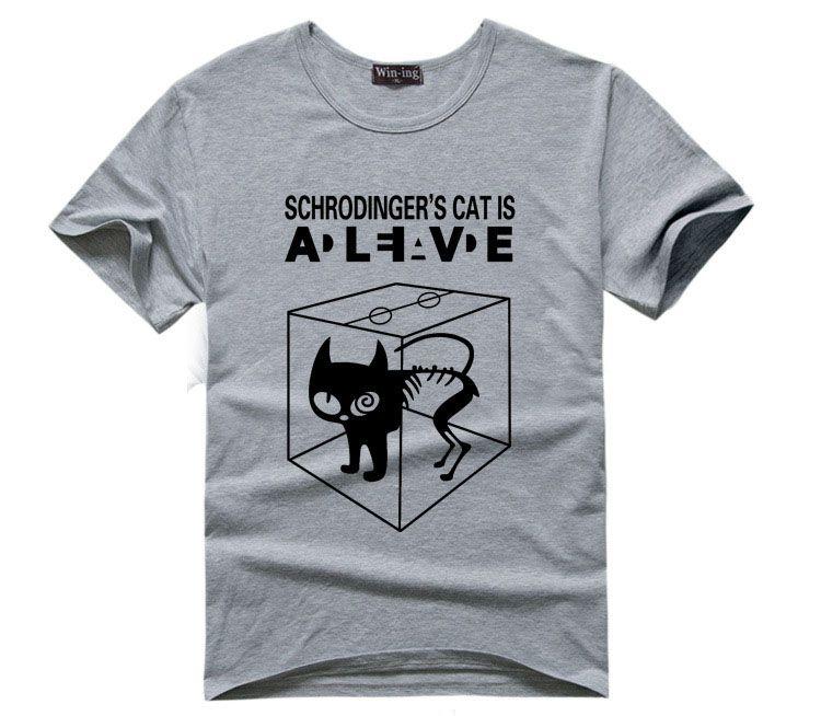Schrodingers Cat T Shirt Science Geek T Shirts Men Comic